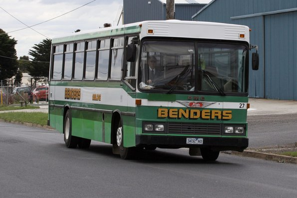 Benders high floor bus #27 rego 3432AO in the old livery leaves the North Geelong depot on a school run