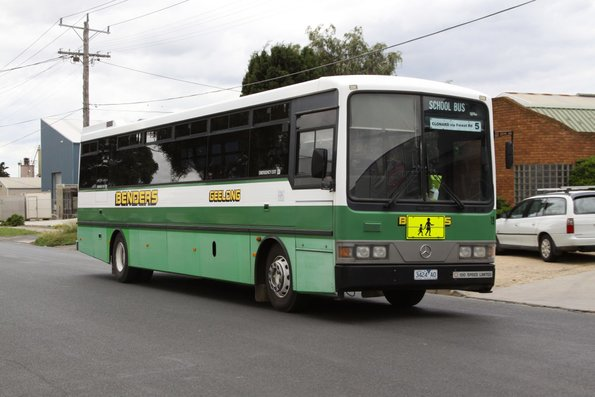 Benders high floor bus #19 rego 3424AO in the old livery leaves the North Geelong depot on a school run