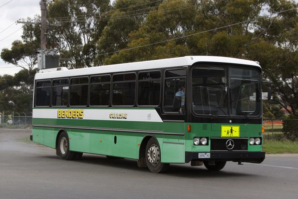 Benders high floor bus #45 rego 3450AO in the old livery leaves the North Geelong depot on a school run