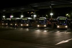 Lineup of McHarry's buses at Geelong Station
