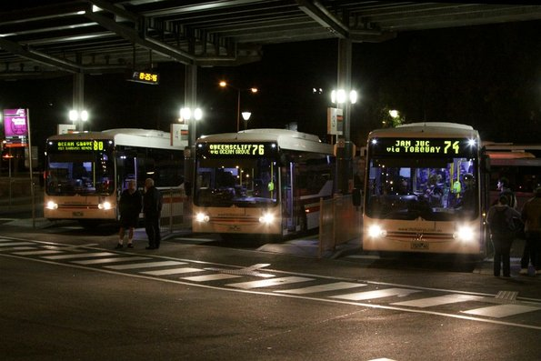 McHarry's buses for Ocean Grove, Queenscliff and Jan Juc awaiting departure from Geelong Station