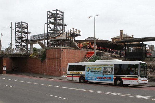 McHarry's bus on Gordon Avenue passes the new footbridge at Geelong station