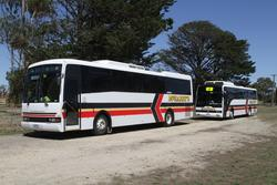 Pair of McHarry's school buses parked in Winchelsea for the weekend