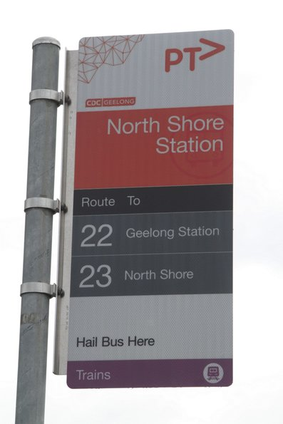 Bus stop for route 22 and 23 services at North Shore station