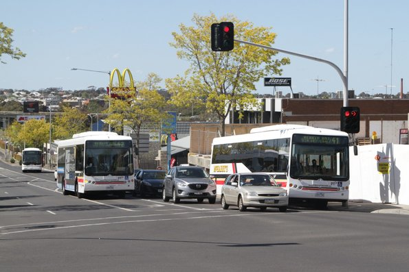 Buses on route 1, 41, and 42 heads south on High Street, Belmont