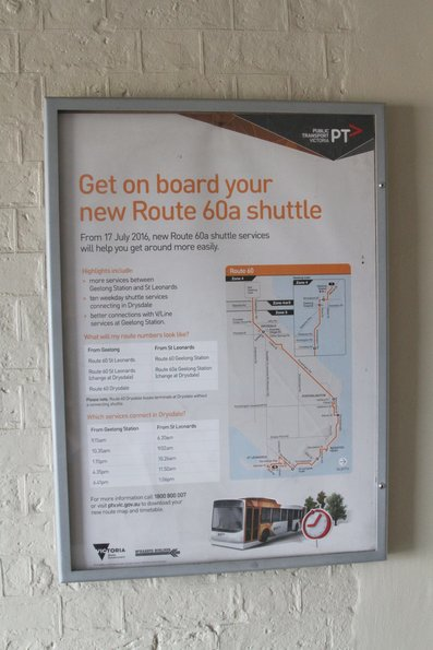 'Get on board your new Route 60a shuttle' poster at Geelong station