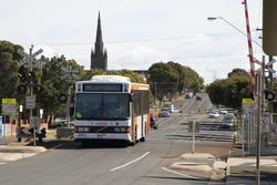 CDC Geelong bus 0800AO on route 1 arrives at South Geelong station