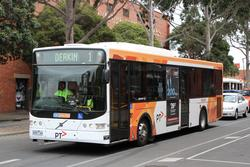 CDC Geelong bus #140 9495AO on route 1 at Brougham and Gheringhap Street in Geelong
