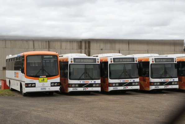 CDC Geelong buses #19 3424AO, #97 0170AO, #94 4359AO and #100 4500AO parked at their North Geelong depot