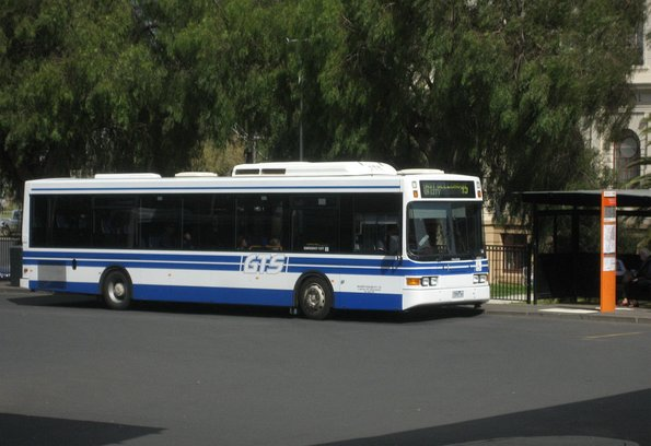 McHarry's bus #55 rego 1555AO in GTS livery picks up route 45 passengers at Geelong station