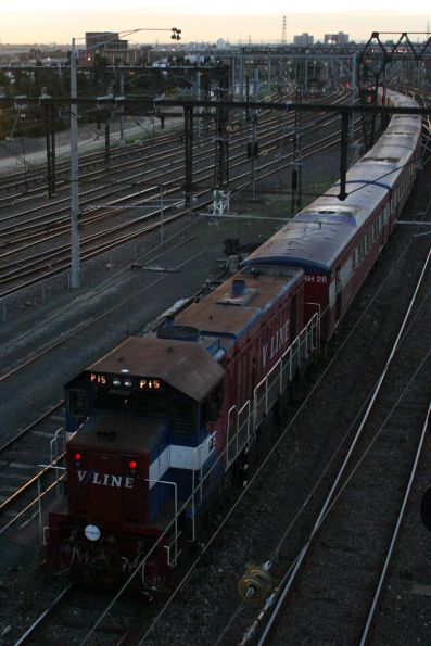 P16 and P15 depart Southern Cross with a 8-car push-pull football special to Geelong