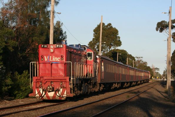P16 stabled on a football special at South Geelong