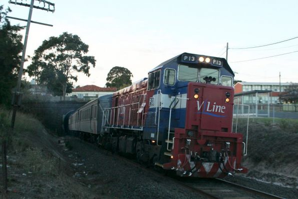 P13 on an empty football special exits the Geelong tunnel