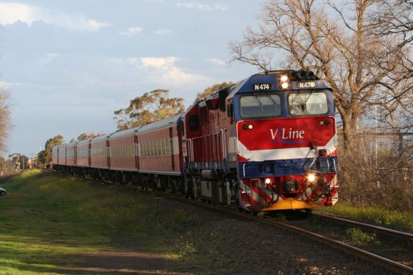 N474 leads a 7 N car football special outside South Geelong