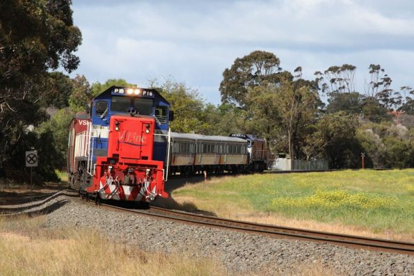 P18 leads eight cars and P13 towards South Geelong