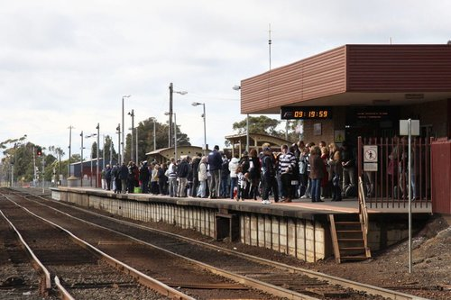 Cats fans wait for a delayed train at South Geelong