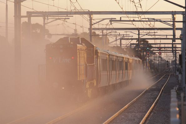 Cough, cough! P14 brings up the rear of the train, kicking up more dust