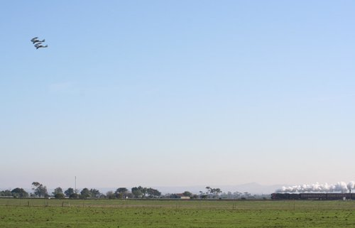 R761 and two chase planes outside Lara