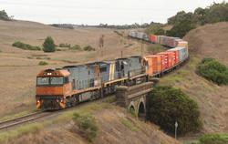 Eastbound NR87, XRB561 and NR34 drop downgrade towards North Geelong