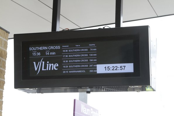New LCD PIDS displaying the next trains to depart Waurn Ponds station