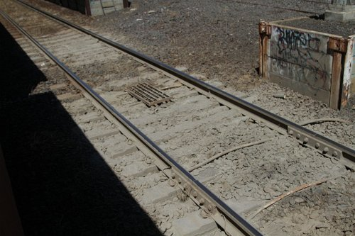 Mud hole in the V/Line tracks at North Geelong