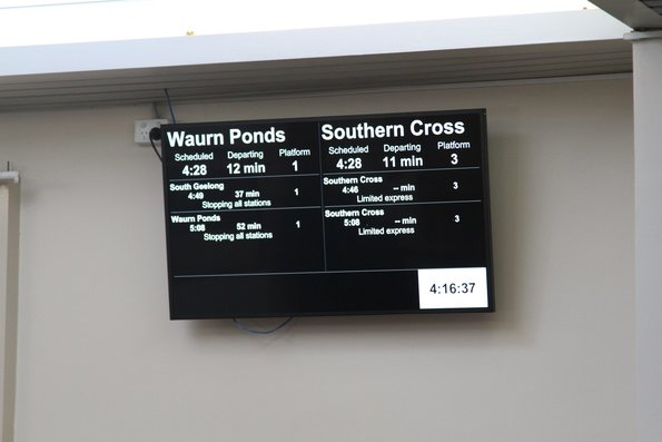 Next three departures in each direction displayed in the Geelong station waiting room