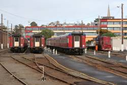 Carriage sets VN18, VN12 and FN3 stabled for the weekend at Geelong station, along with shunter Y156