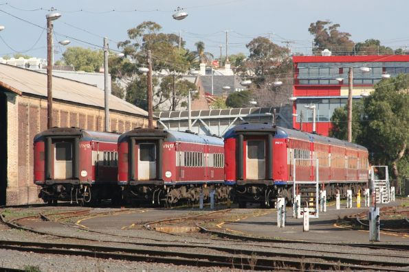 Carriage sets VN12, VN17 and FN11 stabled for the weekend at Geelong