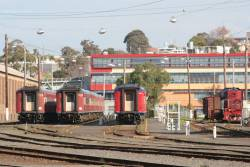 Y156 stabled with carriage sets VN12, VN17 and FN11 for the weekend at Geelong