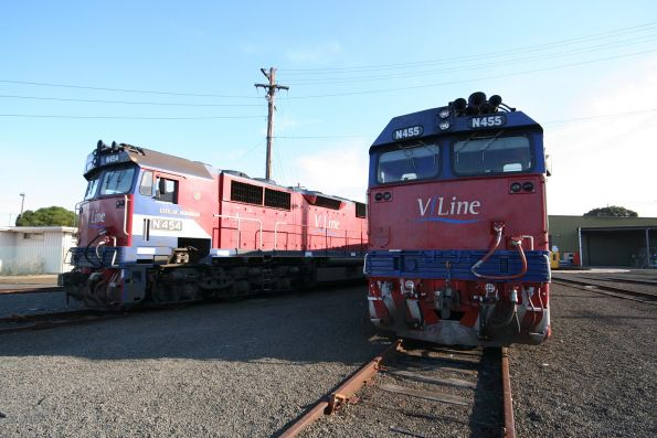 N454 and N455 stabled at the Geelong locomotive depot