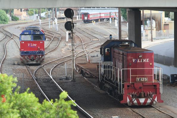 Y129 with shunters float VZKF 17 beside N452 at the Geelong carriage yards