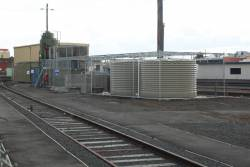 New recycled water tanks for the car wash at Geelong station