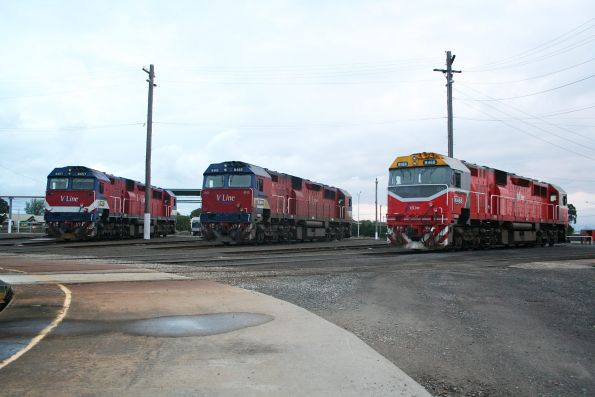 One of each N class livery - N468, N465 and N457 stabled at the Geelong locomotive depot