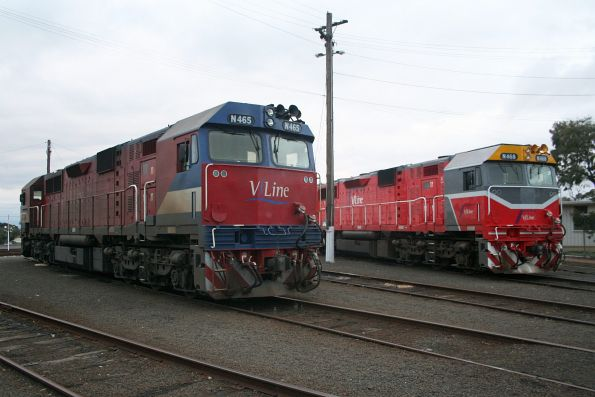 N468 in the new livery and N465 in the old, stabled at the Geelong locomotive depot