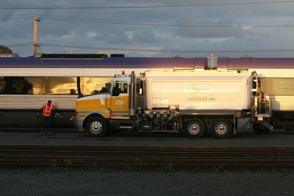 They build a new Vlocity fuel point at the Geelong locomotive depot, but they still use road tankers?