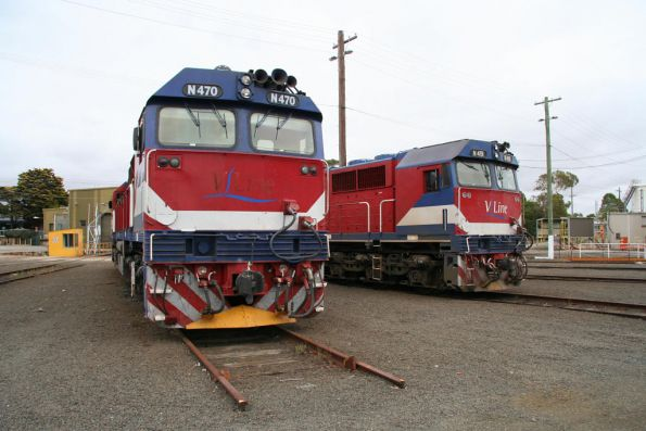 N470 and N451 stabled for the weekend at the Geelong locomotive depot