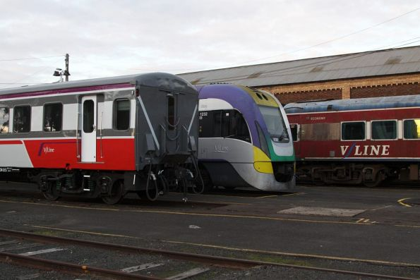Carriage set VSH29, VLocity 3VL32 and a ratty looking ACZ carriage stabled for the weekend at Geelong