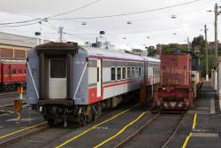 Y156 and FN14 stabled in the carriage yard at Geelong