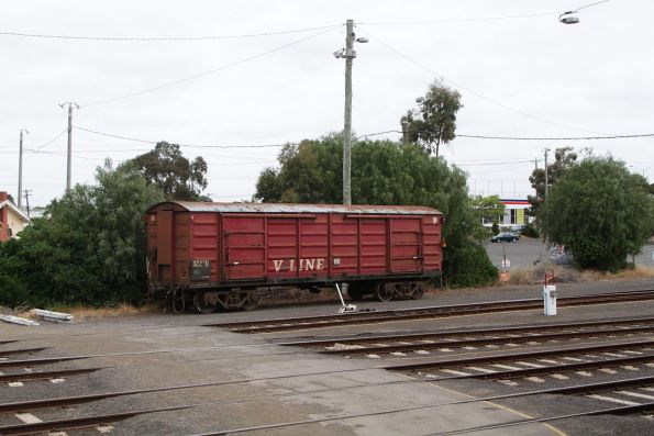 Luggage van DT322 stabled in the dead end siding at Geelong