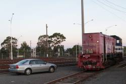 Y156 between shunting moves at the Geelong locomotive depot