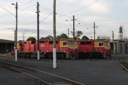 N468 and N453 stabled beside the turntable at the Geelong locomotive depot