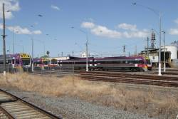 VLocity and Sprinter DMUs stabled for the weekend at the Geelong locomotive depot sidings