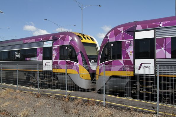 VLocity VL15 and VL16 stabled for the weekend at the Geelong locomotive depot sidings
