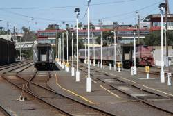 Y156 and carriage sets stabled for the weekend at Geelong station