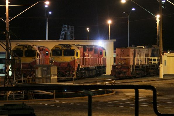 Y156, N463 and N455 stabled at the Geelong locomotive depot