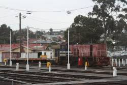 Y156 and shunters float stabled at the Geelong carriage yards