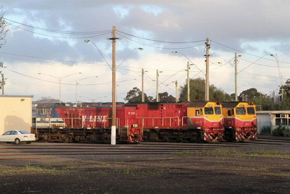 Y163, N469 and N464 stabled for the weekend at the Geelong locomotive depot