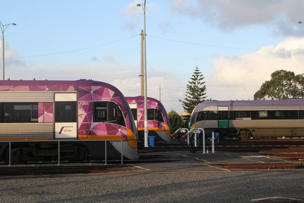 VLocity VL53, VL66 and VL24 stabled for the weekend at the Geelong locomotive depot