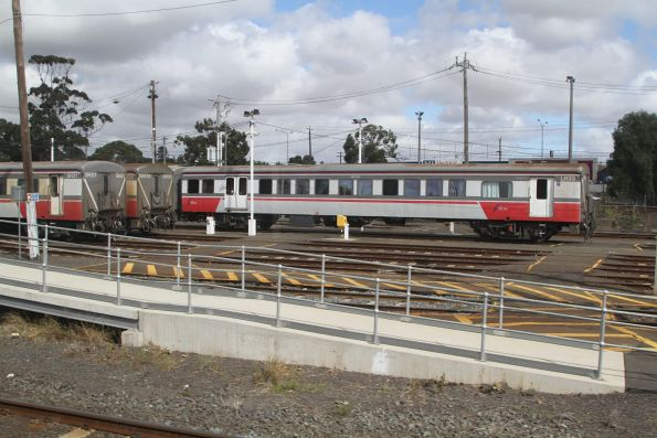 Carriage sets SH31, SSH28 and LH33 stabled at Geelong