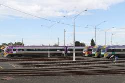 VLocity VL74, VL43, VL37 and VL38 stabled at Geelong for the weekend
